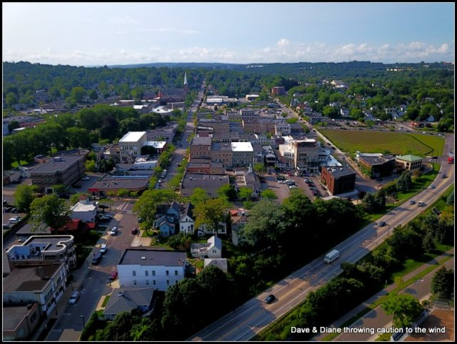 This is a shot of downtown Petoskey from the harbor with the toy.