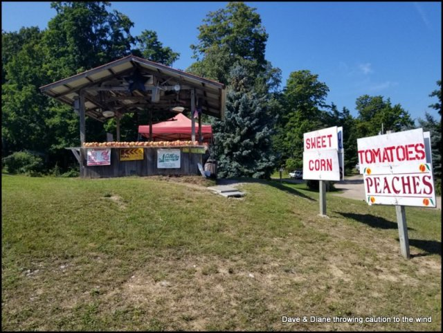 This fruit stand was just up the road from our campground. We picked up some peaches & corn here.