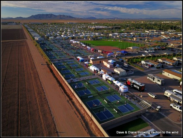 PIckleball courts and you can see the softball field in the background.