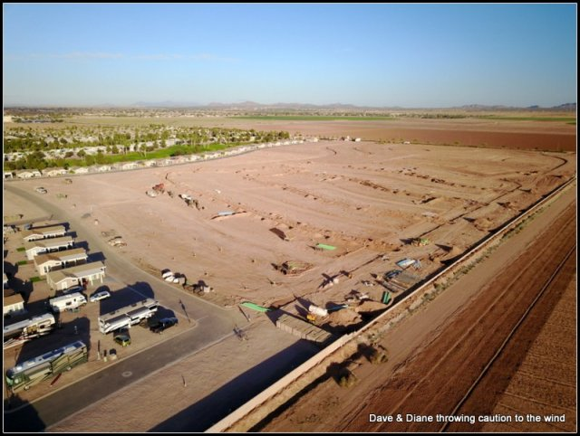 This is where RV storage and the RC airfield used to be. Next year this will have streets and more RV parking sites but I think mainly park models will line the outside.