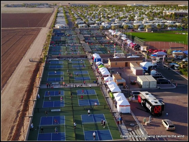 You can see the 32 Pickelball courts in blue & green and the vendor tents set up. This was taken right before morning play so the crowds had not gathered yet.