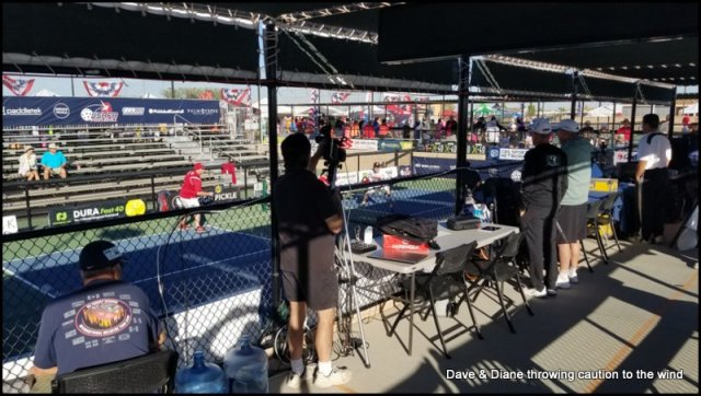 This is where some of the media were stationed during the matches.