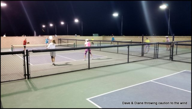 Diane with a few of her friends on a social night at the Pickleball Courts.