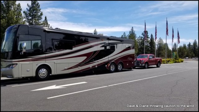 Sitting in the staging area at Bend Sisters RV Park waiting for our site.