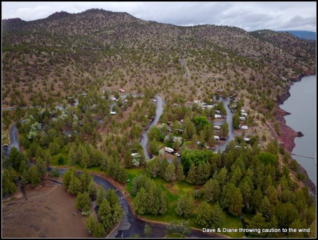 """A shot from """"the toy"""" of the campground at the Prineville Reservoir."""
