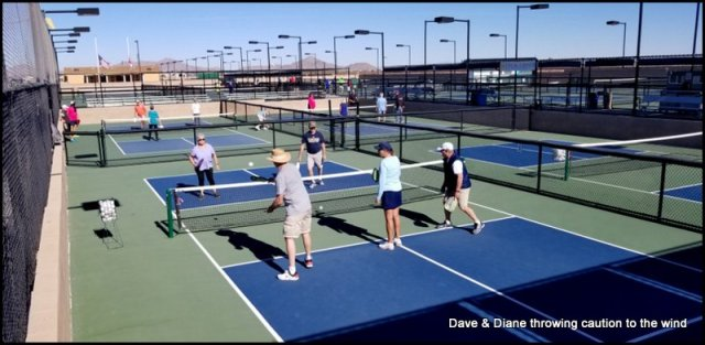 A few brand new people trying out a orientation class on Pickleball.